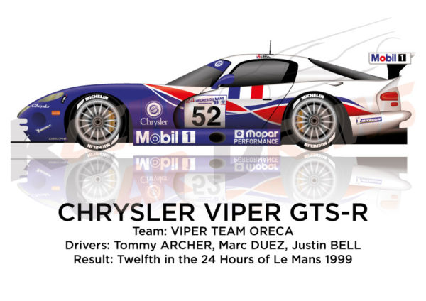 Chrysler Viper GTS-R n.52 second class LM-GTS 24 Le Mans 1999