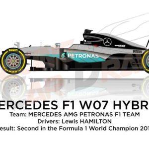 Mercedes F1 W07 Hybrid n.44 second in Formula 1 World Champion 2016
