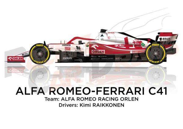 Alfa Romeo - Ferrari C41 n.7 Formula 1 2021 driver Kimi Raikkonen