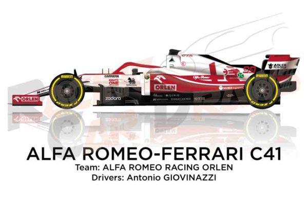 Alfa Romeo - Ferrari C41 n.99 Formula 1 2021 driver Antonio Giovinazzi