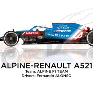 Alpine - Renault A521 n.14 Formula 1 2021 driver Fernando Alonso