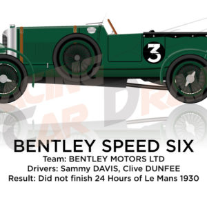 Bentley Speed Six n.3 did not finish 24 Hours of Le Mans 1930