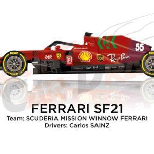 Ferrari SF21 n.55 Formula 1 2021 driver Carlos Sainz