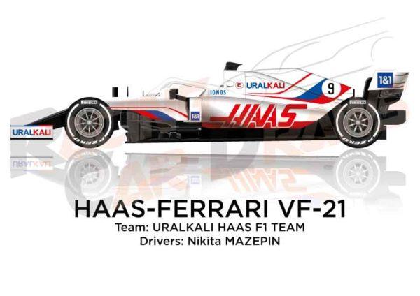 Haas - Ferrari VF-21 n.9 Formula 1 2021 driver Nikita Mazepin
