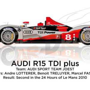 Audi R15 TDI Plus n.8 second in the 24 Hours of Le Mans 2010
