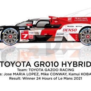 Toyota GR010 Hybrid n.7 winner 24 Hours of Le Mans 2021
