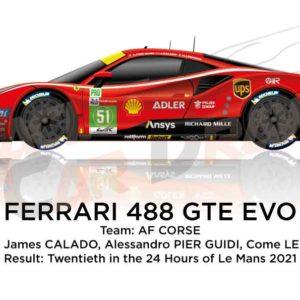 Ferrari 488 GTE EVO n.51 winner GTE PRO 24 Hours of Le Mans 2021