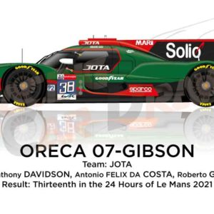Oreca 07 - Gibson n.38 thirteenth in the 24 hours of Le Mans 2021